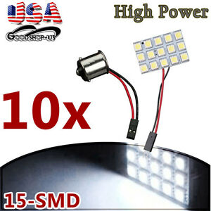 10x White 5050 15smd Panel Led Rv Interior Dome Light Bulb 1156 Ba15s Adapters