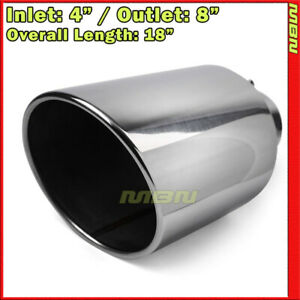 Angled 18 Inch 4 Inlet 8 Outlet Stainless Truck 199471 Bolt On Exhaust Tip