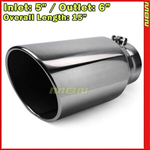 Angled 15 Inch 5 Inlet 6 Outlet Stainless Truck 199491 Bolt On Exhaust Tip