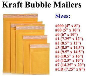 5 3000 Kraft Bubble Mailers Padded Envelope 000 00 0 cd 1 2 3 4 5 6 7