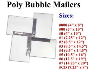 Poly Bubble Mailers Padded Envelope 000 0 Cd 1 2 3 4 5 6 7 White Bags All Sizes