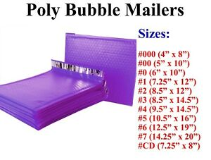 Poly Bubble Mailers Padded Envelope 000 00 0 Cd 1 2 3 4 5 6 7 Purple All Sizes