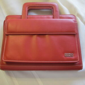 Franklin Covey Red Faux Leather Briefcase Style Day One Planner