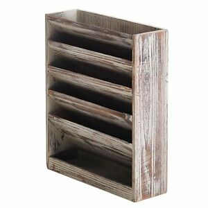5 Slot Rustic Torched Wood Wall Mounted Magazine And Document Filing Organizer