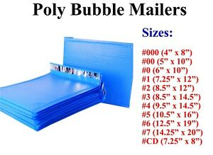 Poly Bubble Mailers Padded Envelope 000 00 0 Cd 1 2 3 4 5 6 7 Blue All Sizes