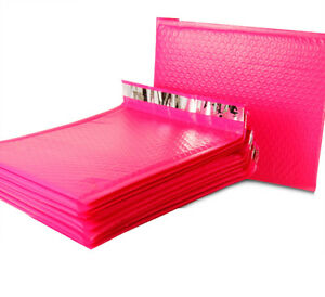 2 8 5x12 Hot Pink Poly Bubble Mailers Shipping Mailing Bag Envelopes 8 5 X 11