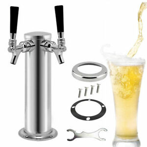 Double Tap Steel Draft Beer Tower Stainless Dual Chrome Faucet Kegerator Tank Us