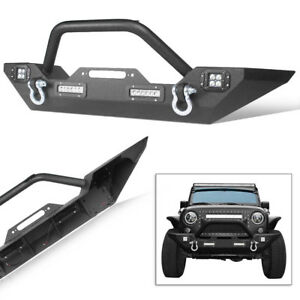 For 2007 2018 Jeep Wrangler Jk Front Bumper W built in Led Lights