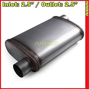 High Flow Straight Through Perforated Muffler 2 5 Offset Inlet Outlet 201443