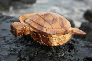 Carved Hawaiian Turtle Honu 8 Natural Hand Carved