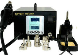Dual Lcd 2 In 1 Atten At 8502d 900w Pro Hot Air Rework Iron Soldering Us 220v