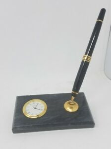 Executive Marble Clock Pen Set Gift Marble Base Black Blue Stone Gold Chelsea