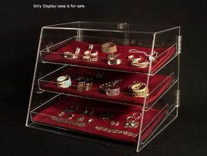 3 Tier Acrylic Jewelry Crafts Display Case W removable Trays 21 wx17 dx16 75 h