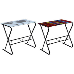 Computer Desk Glass Table Home Office Study Furniture World Map rainbow Pattern
