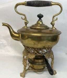 Antique Brass Tea Pot Kettle With Ornate Stand And Burner By S C Trade Mark