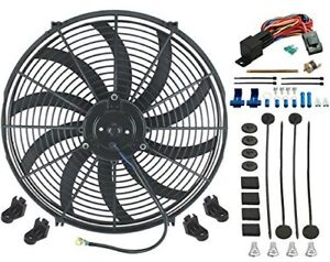 16 Inch Electric Radiator Cooling Fan 12v 3000cfm Relay Thermostat Kit Qc