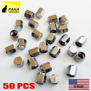 50 Pcs Brass Metal Chrome Valve Caps Tire Valve Stem Caps