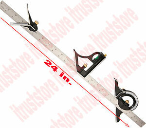 Long Steel Machinist Combination Try Tri Square Ruler Measuring Angle Tool Rule