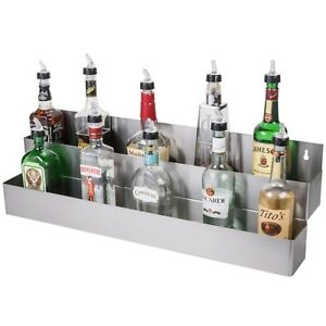 Bar Speed Rail Liquor Display Rack 36 Stainless Steel Double Tier