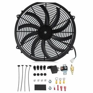 16 Inch Chrome Electric Cooling Radiator Fan Curved Hot Rod With Mount Kit Atu