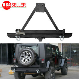 For Jeep Wrangler 87 06 Tj Yj Rock Crawler Rear Bumper W Tire Carrier