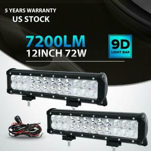 Pair 12inch 72w Led Light Bar Work Spot Flood Combo Cree 4wd Car Atv Wiring Kit