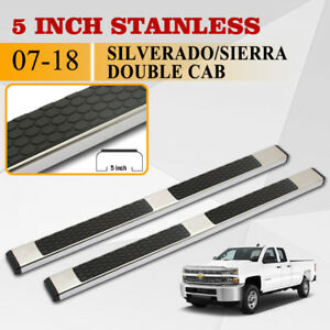 Fit 07 18 Chevy Silverado Double Cab 5 Side Step Running Board Nerf Bar S S Dh