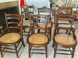 6 Antique American Eastlake Side Chairs Walnut 2 Peg Cane Seat 2 Upholstered