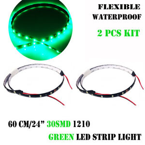 2x 24 Green Car Motor Bike Vehicle Boat Flexible Waterproof Led Strip Light 12v