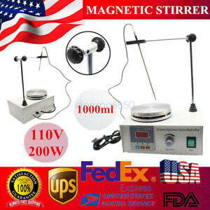 Magnetic Stirrer With Heating Plate Digital Hotplate Mixer Stir Bar 110v 1000ml