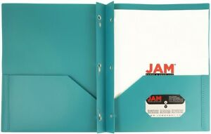 Jam Paper Plastic 2 pocket Folders Eco Friendly Folder With Clasps Teal Pack