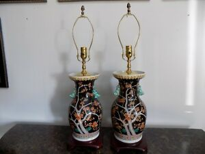 Pair Of Lamps Chinese Porcelain Vases Famille Noire 29