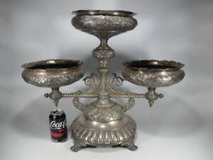 Antique European Large Silverplate Food Service Stand 20026