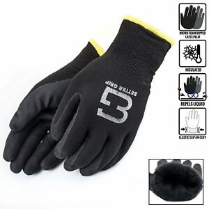 Safety Winter Insulated Double Lining Rubber Coated Work Gloves bgwans bk