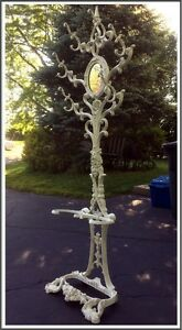 Antique Cast Iron Tall Hall Tree Stand Very Ornate With Oval Mirror Late 1800 S
