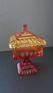 Vintage Amberina Orange Glass Compote Candy Dish With Lid