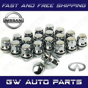 20 Pcs Mag Lug Nut With Washer Oem Factory Style Chrome 12mmx1 25 Fits Nisann