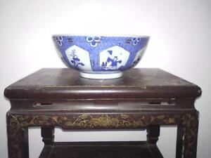 19thc Chinese Blue White Punch Bowl Boy He He Er Xian Holding Lotus Pine Tree