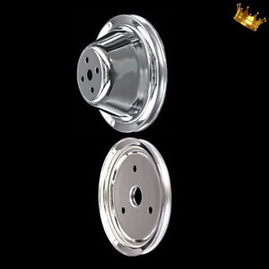 Chrome Crankshaft And Water Pump Pulleys For Sbc 283 327 350 383 400 With Swp