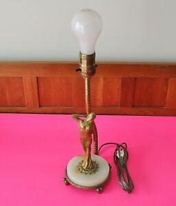 Antique Bronze Figural Table Lamp In Art Nouveau Style With Onyx Base Rewired