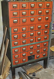 3 Steel Storage Bins 45 Drawers In 3 Sections Of 15 Drawers Each Stacked Stand