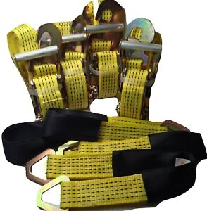 4 Axle Straps Car Hauler Trailer Auto Tie Down 4 Ratchet Straps Tow Kit Yellow