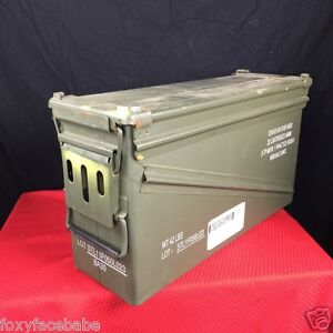 US Military 40 M M AMMO CAN P A  120 Ammo Weatherproof Can Metal Storage Box EUC