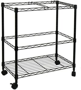 Rolling File Cart 2 Tiers Cabinet Home Office Organizer Storage Drawers Metal