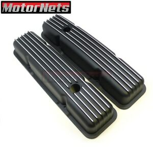 Small Block Chevy Finned Black Aluminum Valve Covers Short Sbc 283 327 350