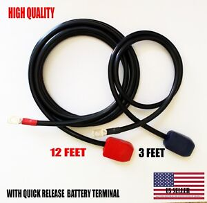 Battery Relocation Kit 2 Awg Cable Top Post 12 Ft Red 3 Ft Black