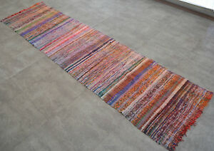 Turkish Rag Rug Runner Hand Made Kilim Ragrug Chaput Cotton Runner 30x119 Inches