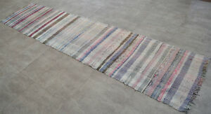 Turkish Rag Rug Runner Hand Made Kilim Ragrug Chaput Cotton Runner 30x126 Inches