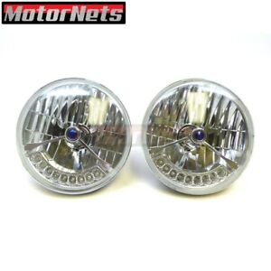 Pair 7 Headlight Headlamp Blue Dot H4 Bulb Amber Led Turn Signal Clear Round