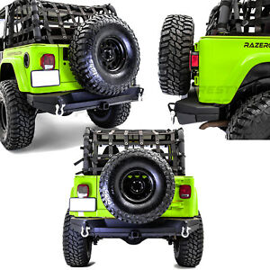 Dual Plate Rock Crawler Rear Bumper 2 Receiver Hitch For 97 06 Jeep Wrangler Tj